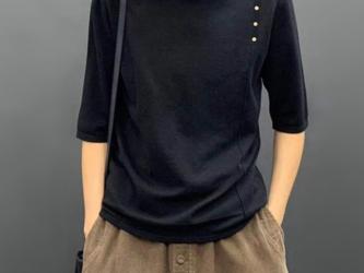 秋 ミッドスリーブハーフハイネックプルオーバーセーター 五分袖ボトムセーターセータートップス レディース 通学 通勤の画像
