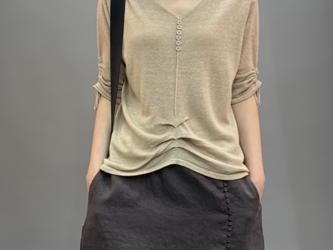 秋 ニット半袖薄手のセーターTシャツ ニットセーター サマーセーター コットンリネン  トップス レディース 通学 通勤の画像