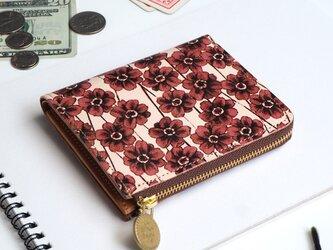 L字ファスナー財布(チョコレートコスモス) 本革 コンパクト 花柄 レディース ILL-1157の画像
