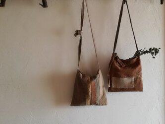 草木染め ざっくり肌ざわりのポシェット 自由色2の画像