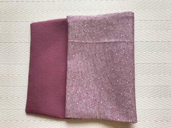 ★ブックカバー文庫本用  薄紫の江戸小紋・双葉葵柄の画像