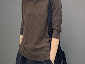 秋  薄手のセーターTシャツ ニットセーター サマーセーター コットンリネン ミッドスリーブトップス レディース 通学 通勤の画像