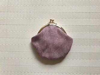 がまぐち・丸型 ちびがま口   薄紫の江戸小紋・双葉葵&臙脂色の鮫小紋の画像