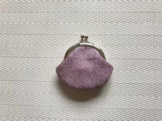 がまぐち・丸型  ミニがま口 薄紫の江戸小紋・双葉葵&臙脂色の鮫小紋柄の画像