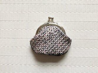 がまぐち・丸型  ミニがま口 薄紫の絞り柄×黒無地の画像