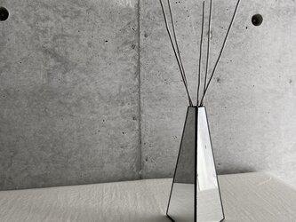 HAKUガラス製・リードディフューザー用ガラス器 / フラワーベースにも【A.ミラー×ブラック】の画像