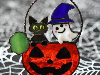 ステンドグラス ハロウイン オバケ黒猫 キャンドルホルダーにもの画像