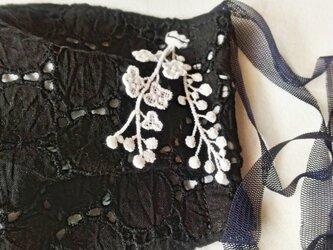 秋冬布マスク 《チュールゴム》ブラックサークル刺繍 大人用の画像