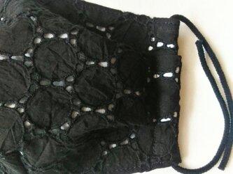 秋冬布マスク 《モンドフィルゴム》ブラックサークル刺繍 大人用の画像
