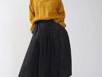 【wafu】※袖長め 中厚 リネン 着物襟 ブラウス トップス 禅 リネン100% チュニック/マスタード t010d-mtd2の画像