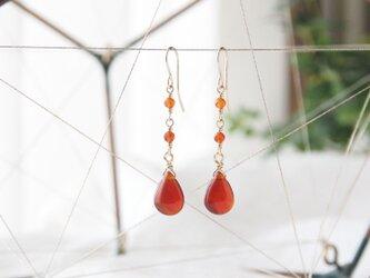 Red Pear Shaped Pierce(レッドアゲート×カーネリアン)の画像