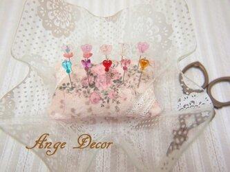 ◆◇ガラス飾りの待ち針10本セット(お花・蝶・ハート)◇◆の画像