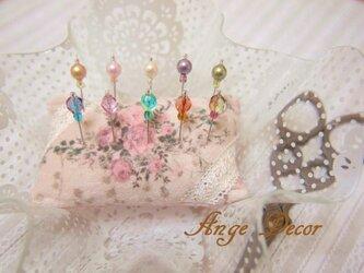 ◆◇ガラス飾りの待ち針10本セット(パール・カット玉)◇◆の画像