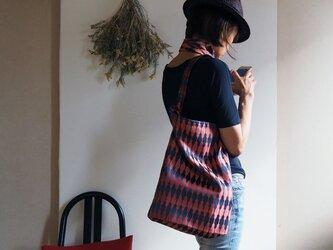【選べる2サイズ】大きすぎないおしゃれなエコバッグ チャコール×レンガ色の着物コートからの画像