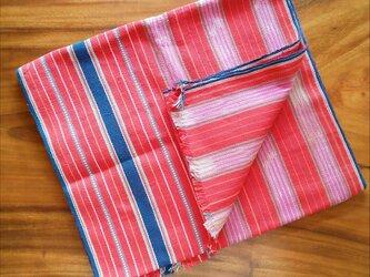 カレン族の手織り布 / 1点もの / 赤 ボーダー / かすり染め / コットン / 生地の画像