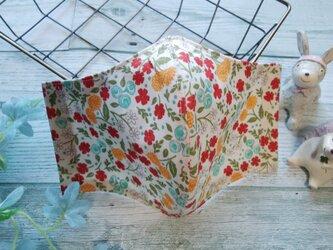送料無料✴USAコットン使用、秋色ベージュ地に花柄の可愛いマスクです✴裏は涼感加工ガーゼ✴の画像