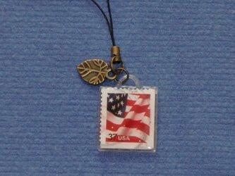 ★レジン ストラップ USA切手 星条旗★の画像