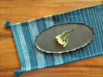 カレン族の手織りマット / タイの草木染め & 手織り / ランチョンマット /インテリア飾り / 藍染め / コットンの画像