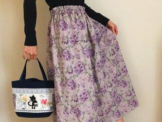 薔薇模様 コットンリネン あなたサイズのギャザースカートの画像
