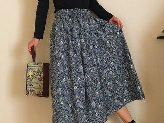 セミオーダー コットンリネン 小花模様 秋のゆったりふんわりスカートの画像