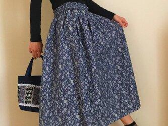 小花模様 コットンリネン あなたサイズのギャザースカートの画像