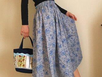 セミオーダー コットンリネン 更紗模様 秋のゆったりふんわりスカートの画像