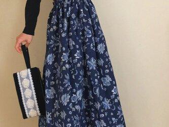更紗模様 コットンリネン あなたサイズのギャザースカートの画像