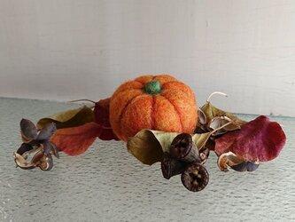 羊毛フェルトのハロウィンかぼちゃ(中サイズ)の画像