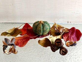 羊毛フェルトのハロウィンかぼちゃ/グリーン(小サイズ)の画像