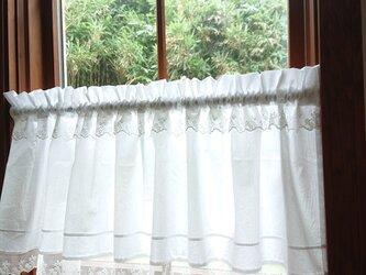 ホワイトコットン♪タック&ダブルレースカフェカーテン 114cm×37.5cmの画像