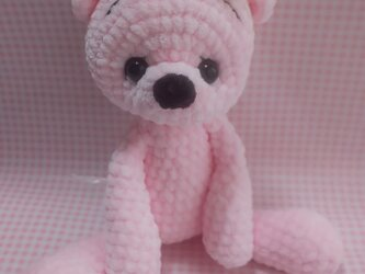 もこもこ編みぐるみ☆ベーシックベア☆ピンクの画像