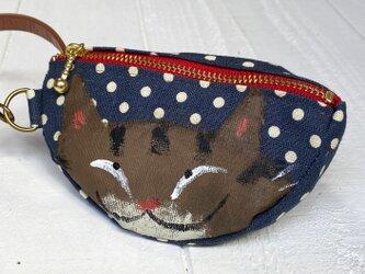 三日月猫のエコバッグポーチ〈キジ猫 青ドット〉の画像