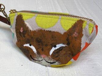 三日月猫のエコバッグポーチ〈サビ猫 カラフルドット〉の画像