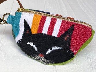 三日月猫のエコバッグポーチ〈黒猫 カラフルボーダー〉の画像