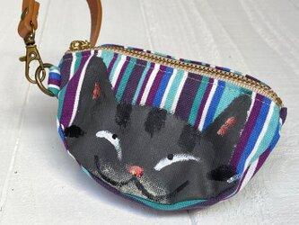 三日月猫のエコバッグポーチ〈黒トラ猫 青ボーダー〉の画像