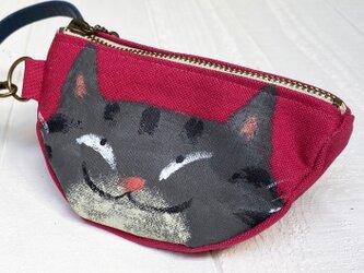 三日月猫のエコバッグポーチ〈黒トラ猫 赤〉の画像