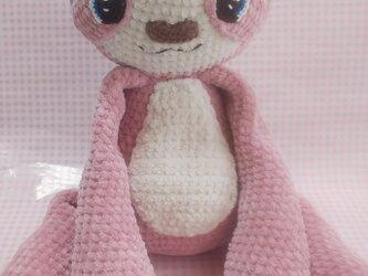 もこもこ編みぐるみ☆なまけもの☆ピンク☆の画像