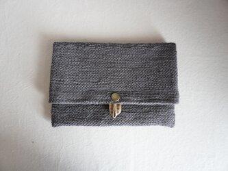 裂き織りのフリーポーチ A5  グレーの画像