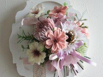 秋桜と紫陽花のアートフラワー★フレームブーケの画像