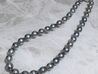 先着1名様 黒蝶真珠ネックレス グレー系 タヒチパール SV925 金属アレルギー ケース付 k006の画像