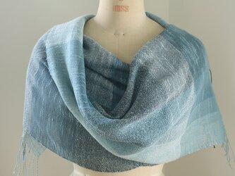 手織り ブルーの綿麻ストールの画像