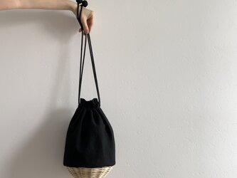 ポンポンカゴバッグ(リネンブラック)の画像