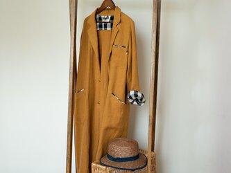 くったり柔らかリネンの秋色ロングコート【膝下丈・ゴールドブラウンxブロックチェック・Mサイズ・ツイルリネン・一枚仕立て】の画像