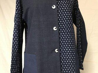 【古布リメイク】絣(かすり)木綿によるレディースジェケット(シャツ)の画像