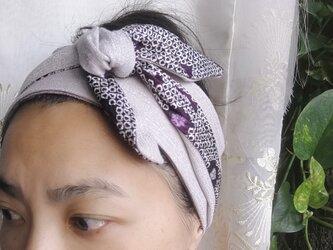 ヴィンテージきもの ヘアアクセサリー 紫の水彩画 6way☆まきまきターバン の画像