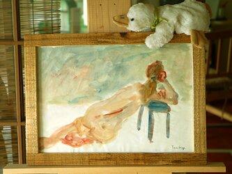 後ろ姿の裸婦水彩画の画像