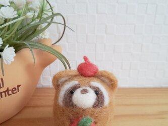 リンゴ大好き つぶらな瞳のレッサーパンダさん 羊毛フェルトの画像