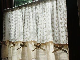 薔薇の総刺繍♪ナチュラルロマンカフェカーテン 112cm×48cmの画像