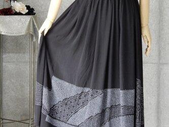 着物リメイク 黒の兵児帯のスカート/フリーサイズの画像
