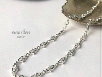 送料無料✴︎限定♡デザインチェーン46cm  金属アレルギーの方も 純銀  purecubicの画像